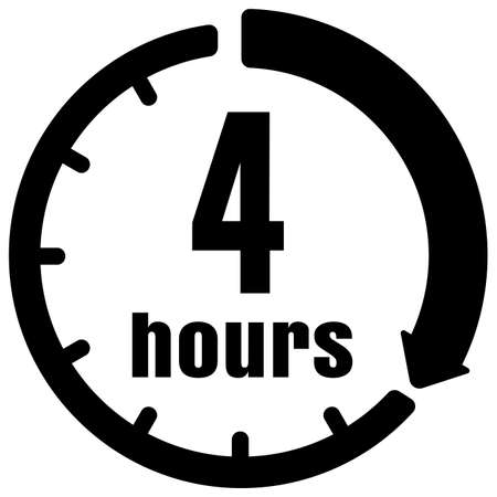 Timer, clock vector icon illustration ( 4 hours )