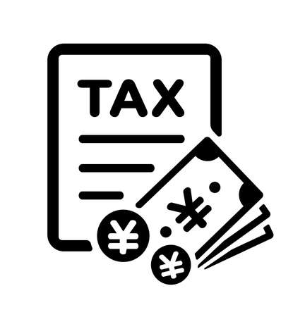 Payment of Tax, Tax Return Vector Icon Illustration ( JPY / Japanese Yen )