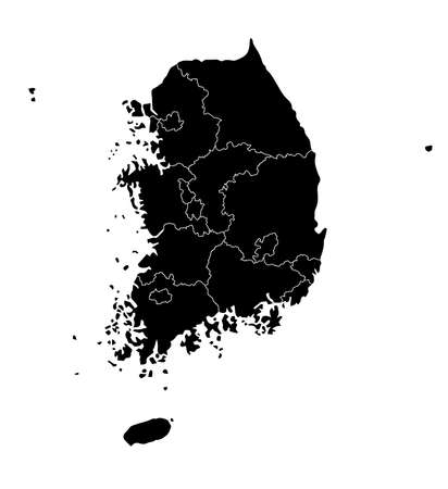 South Korea Administrative Divisions map ( color black ) / Separated for each administrative division