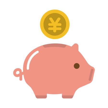 Piggy bank, saving money, investment, cash vector icon illustration ( JPY  Japanese yen )
