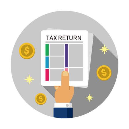 Tax return, submit tax document, tax form  cirlce illustration ( US dollar ) 向量圖像