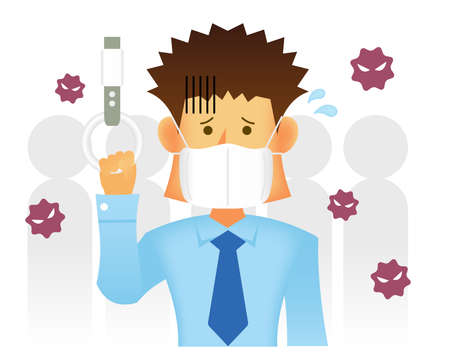 Asian businessman paying attention to infection in a closed space ( such as a commuter train ) vector illustration / coronavirus, influenza etc.