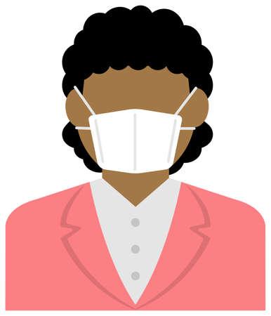 Faceless business person (female / upper body) wearing a mask vector illustration / Coronavirus (influenza hay fever etc.)  Prevention.