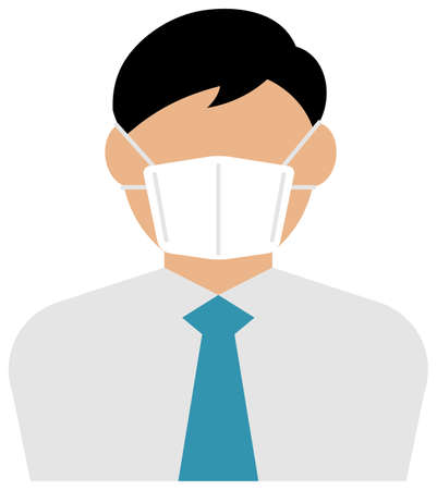Faceless asian business person (male / upper body) wearing a mask vector illustration / Coronavirus (influenza hay fever etc.)  Prevention. Ilustração