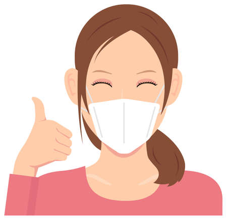Young Woman Wearing a Mask Vector Illustration (Upper Body)  Thumb Up with Smiling 일러스트