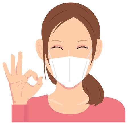 Young Woman Wearing a Mask Vector Illustration (Upper Body)  Ok sign with smiling
