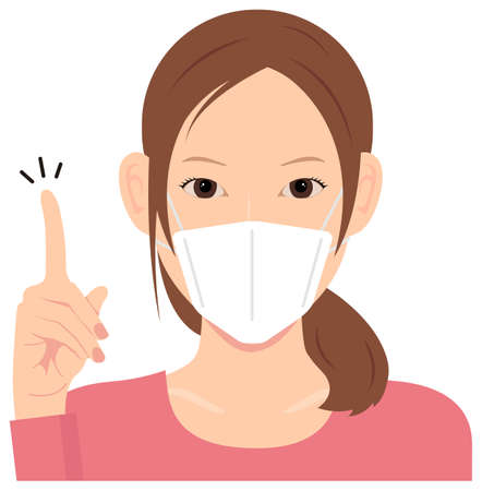 Young Woman Wearing a Mask Vector Illustration (upper body)  idea,inspiration, good point, recommendation