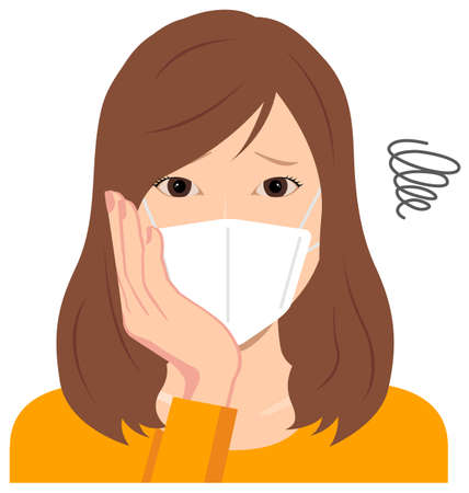Young Woman Wearing a Mask Vector Illustration (upper body)  depression,, troubled, 일러스트