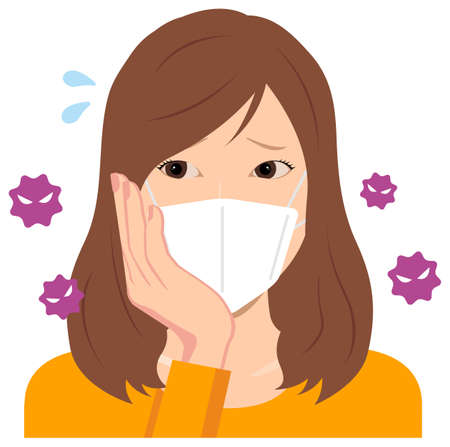 Young Woman Wearing a Mask Vector Illustration (Upper Body) / Afraid of the Virus