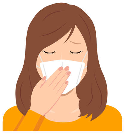 Young Woman Wearing a Mask Vector Illustration (Upper Body)  Afraid of the Virus