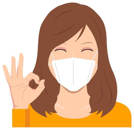 Junge Frau trägt eine Maske Vektor-Illustration (Oberkörper) / Ok-Zeichen mit Lächeln