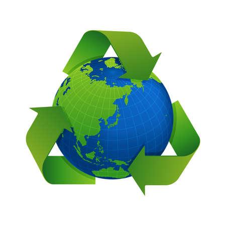 3 frecce intorno all'illustrazione vettoriale della terra (riciclare, ecologia)