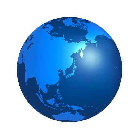 Illustrazione vettoriale della terra centrata sull'Asia orientale