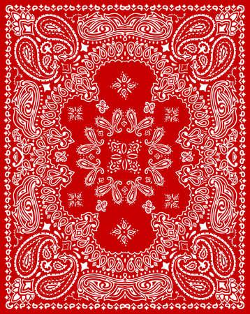 Ilustración de vector de patrón textil Paisley para pañuelo, bufanda, etc.