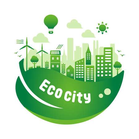 Illustrazione di vettore di città eco verde (concetto di ecologia, conservazione della natura) Vettoriali