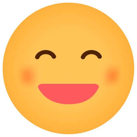 Cartoon face emoticon vector illustration / smiling
