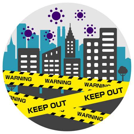 City blockade circle banner illustration / pandemic, corona virus