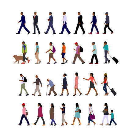 Walking person (male, female, business person) sihouette illustration collection (side view) / black people