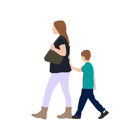 Walking Mother and Child Sihouette Illustration (side view)