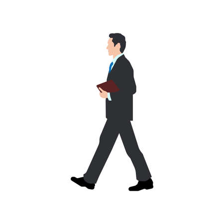 Walking business person sihouette illustration (side view)