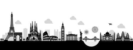 World heritage  famous landmark buildings vector illustration ( side by side )