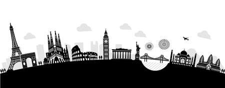 World heritage  famous landmark buildings vector illustration ( arch type )