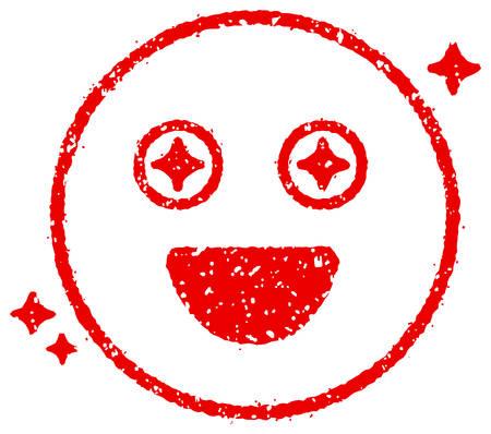 Cartoon face rubber stamp vector illustration  Shine eyes