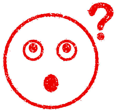 Cartoon face rubber stamp vector illustration  question