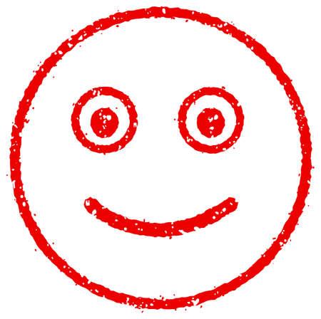 Cartoon face rubber stamp vector illustration / smiling Vector Illustratie