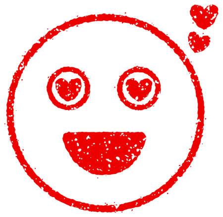 Cartoon face rubber stamp vector illustration  heart