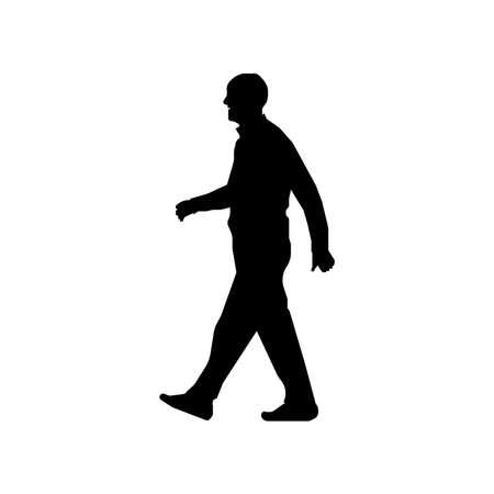 Walking senior erson sihouette illustration (side view)