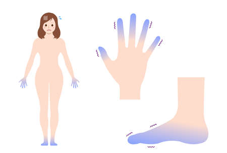 Cold woman's body, hand and foot set / blood circulation illustration (sensitivity to cold )