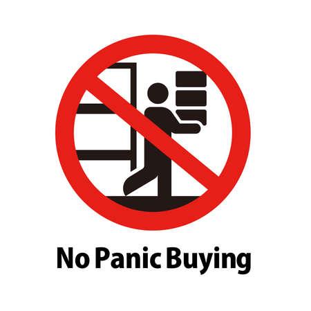 Prohibition vector icon illustration / No panic buying , No buying up