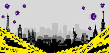 City lockdown banner illustration / pandemic, corona virus, COVID-19