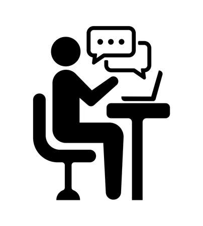 video chat, online seminar, video conferencing vector icon illustration