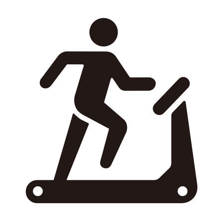 Treadmill, training, sports gym, exercise vector icon illustration