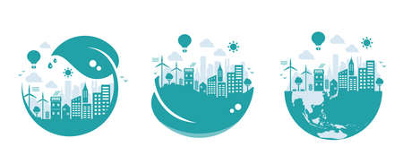 Green eco city vector illustration set ( ecology concept , nature conservation )