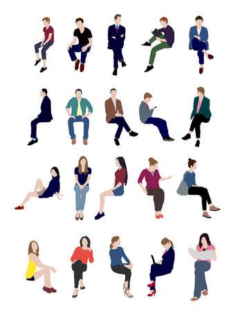Sitting people flat vector illustration set