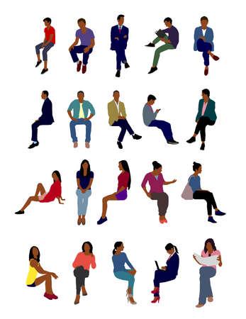 Sitting people flat vector illustration set (black people)  イラスト・ベクター素材