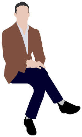 Sitting male person flat vector illustration