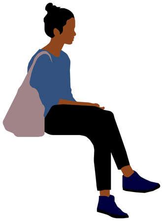 Sitting female person flat vector illustration (Black people)  イラスト・ベクター素材