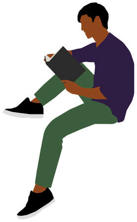 Sitting male person flat vector illustration (Black people)