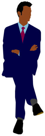 Sitting male business person flat vector illustration (Black people)  イラスト・ベクター素材