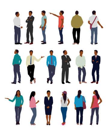 Faceless standing people vector illustration set (black people)  イラスト・ベクター素材