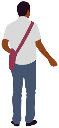 Faceless standing man vector illustration (Black people)