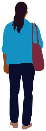 Faceless standing woman vector illustration (Black people)  イラスト・ベクター素材