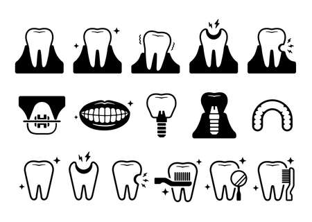 Dental care / Tooth related icons illustration set