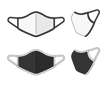 Medical face mask vector template illustration set (piping / 2 tone type)  イラスト・ベクター素材
