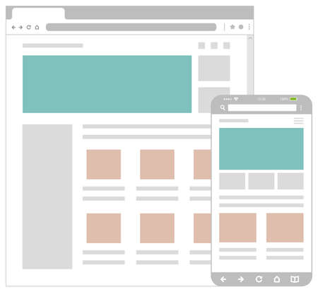 Web pages wireframe layout illustration / Web design template for PC browser , smartphone.