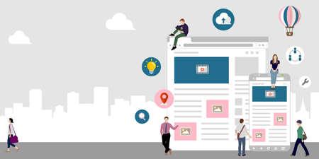 Internet browser , online network , global communication / flat banner vector illustration